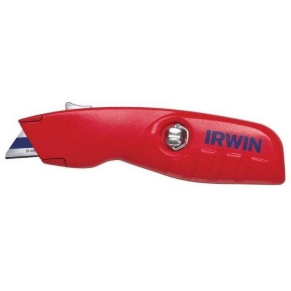 Couteau - IRWIN Couteau de sécurité rétractable avec 3 lames bi-métal - Corps en aluminium - par Claudy Lebreton