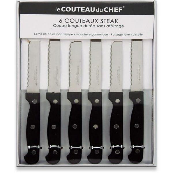 Couteau - LAGUIOLE PRODUCTION - 10320023 - Coffret 6 Couteaux Steack - 3 rivets -Noir - par Claudy Lebreton