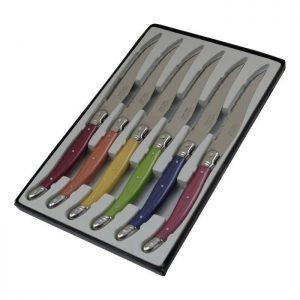 Couteau - PRADEL EXCELLENCE Boîte de 6 couteaux Laguiole - Lame en acier inoxydable - Pastel nacré - par Claudy Lebreton