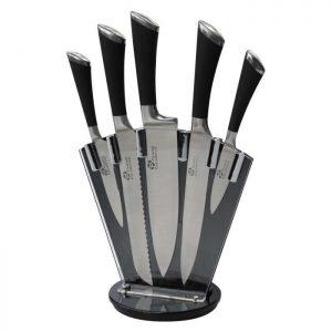 Couteau - PRADEL Bloc de 5 couteaux Excellence - Lames en acier inoxydable et support plexiglas -Noir - par Claudy Lebreton