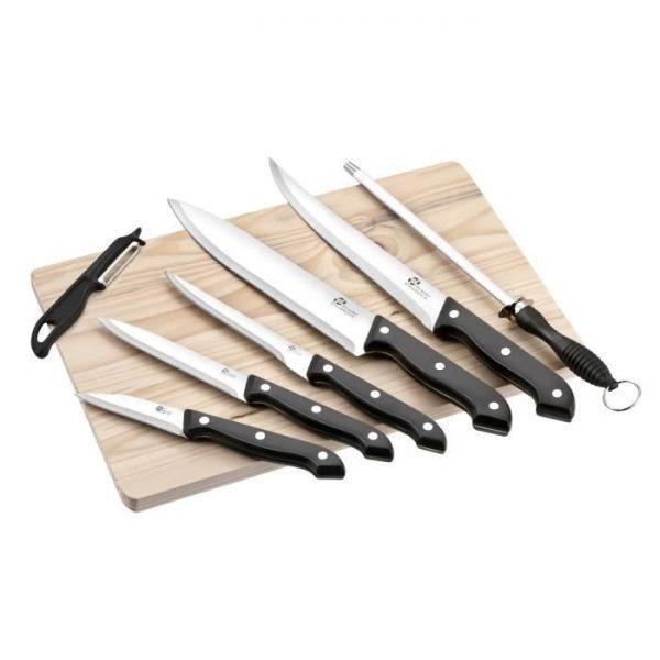Couteau - PRADEL EXCELLENCE Planche en bois avec 5 couteaux de cuisine